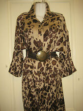 $450 Sz 10 DIANE von FURSTENBERG leopard animal print dress silk brown tan
