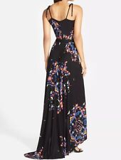 $198 French Connection Electric Rays Print Black Maxi Dress Gown US 4 S RARE!