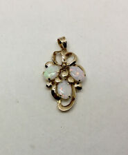 """Vintage 14K Yellow Gold Opal Pendant - 3 Fire Opals - .75 X 1.25"""", With Box"""