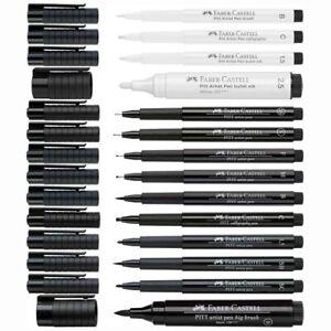 FABER CASTELL Tuschestift PITT ARTIST PEN schwarz weiß weiss [Stärke wählbar]