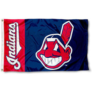 Durable Polyester for Cleveland Indians Flag Banner 3x5 Ft Chief Wahoo Logo MLB