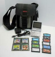 NES Silver Game Boy Advance SP AGS-001 W/14 Games, Bag, Charger, Final Fantasy
