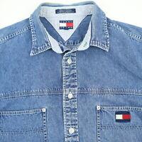 Vtg Tommy Hilfiger Denim Chore Shirt Jacket Mens XL Work Heritage Blue Jean