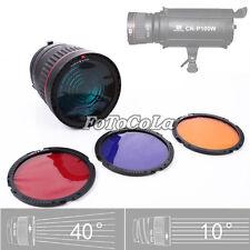 Bowens Mount Studio LED Flash Light Focus Lens Angle Adjustable+4x Color Filters