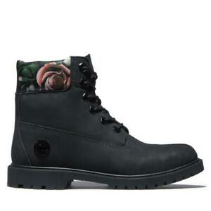 Timberland Heritage 6-Inch Waterproof Black Floral Leather Winter Boots Women
