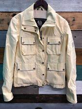 Belstaff Gold Label Nylon Leather Biker Women's Yellow Jacket Size 46