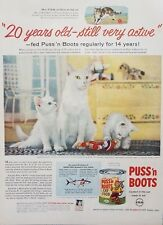 1957 Puss'n Boots Cat Food White Kittens Photo 1950s Decor Vintage Print Ad
