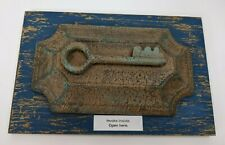"Wall Decor Key Hooks Distressed Blue Board Copper Patina Style Cover 10""x6.5"""