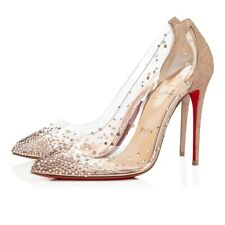 Christian Louboutin Degrastrass PVC 100 Pink Courtisane Glitter Heel Pump 37.5