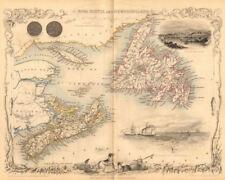 Nova Scotia & Terranova. Halifax Ver. Canadá. Pei. Tallis/Rapkin 1849 Mapa