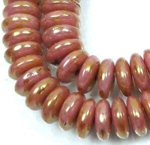 50 Czech Glass Rondelle Beads - Opaque Rose/Gold Topaz 6x2mm