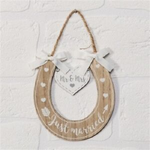 Wedding 'Mr & Mrs' 'Just Married' Wooden Horseshoe with Hearts Shabby Chic