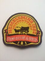 "Vtg Stamp Around Alberta Sew On Patch 3"" AB Canada Travel 1980 Homecoming"
