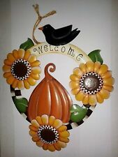 "Metal WELCOME Sign with Sunflowers 11"" H x 10"" L x 1.5"" W very good condition"