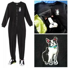 Black White Boston Terrier Dog Footed Pajamas Nick & Nora M or L NWT LAST ONE