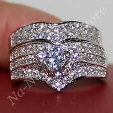 Size 6-10 Deluxe Womens 925 Silver White Sapphire Engagement Wedding Ring Set