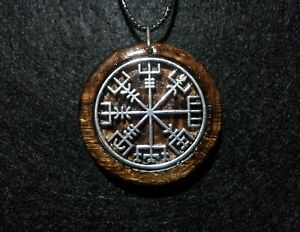 Vegvisir Pendant in oak, norse protection amulet,travel protection,Runic Compass