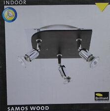 BRILLIANT SAMOS WOOD Deckenleuchte Strahler dreh-/schwenkbare Spots Chrom/Holz