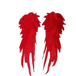 Large Pair Wings Sew On Lace Red Layered 40 cm x 13 cm Motif Badge Patches P063