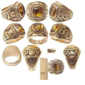 1975 UCLA GRADUATION RING SOLID 10K GOLD 16 GRAMS TOPAZ STONE SIZE 7
