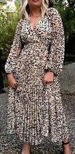 H&M Trend Animal Print Dalmation Kimono Wrap Pleated Midi Dress 16 18 Bnwt