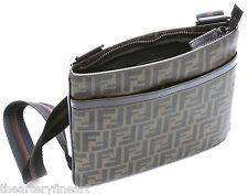FENDI Men's Zucca Spalmati Flat Cross-Body Bag 'FF' Logo Tobacco / Brown **NEW**