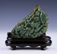 A FINE CHINESE NEPHRITE SPINACH JADE DRAGON GROUP