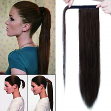 Wrap Around Clip In on Ponytail Remy Human Hair Extensions Straight Hair Piece