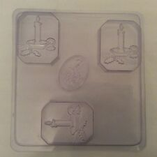 Soap Mold 3 cavity candle soap mould, candlestick, soapmaking, Christmas NEW