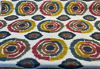 Bohemian Circles Rustic Kira Linen Teflon Drapery Upholstery Fabric by the yard