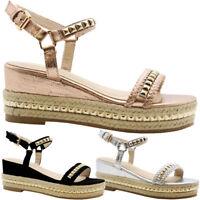 Ladies Womens Mid Wedge Studded Espadrilles Platform Flatform Sandals Shoes Size