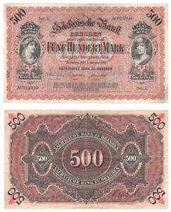 GERMANY 500 Mark Banknote (1911) Bank of Saxony - Pick ref: S.953b.