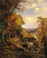 "Oil painting Thomas Moran Wissahickon Cresheim Glen Autumn with stream 36/"""