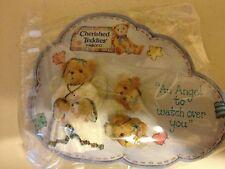 1996 Cherished Teddies Angel Lapel Pin & Pierced Earring Set New Retired