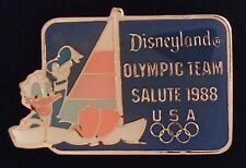 Disney Pin Badge~ Olympic Seoul ~ Salute 1988 ~ Donald Duck Yachting~Usa 5 rings