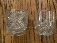 2 Vintage Clear Pressed Glass Diamonds & Daisy  Drinking Glasses