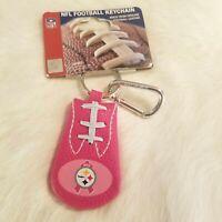 NFL Pittsburgh Steelers Pink Genuine Football Leather Keychain 1940