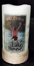 Flameless Flickering LED Candle Welcome Lake House 5 Hour Timer Auto On/Off