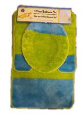 High Pile 3 Piece Bathroom Set Bath Mat Contour Rug & Lid Cover - Turquoise Lime