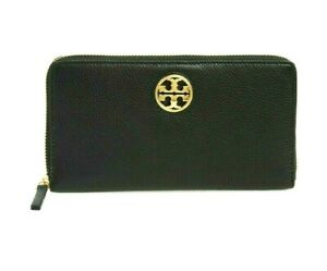 Tory Burch Carson Black Zip Leather Continental Wallet NWT