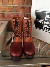 FRYE Veronica Leather Duck Waterproof Boots Sz 7.5 Cinnamon Brown $398