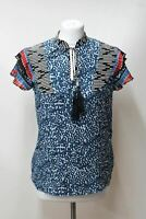 SEE BY CHLOE Ladies Cap Sleeve Blue Spotted Silk Open V Neck Blouse Top UK8