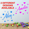 Personalised Name Wall Sticker Boys Girls Kids Custom Vinyl Art Wall Quotes N151