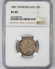 1881 NGC XF 40 Newfoundland Canada / Canadian Twenty Cent 20c Piece