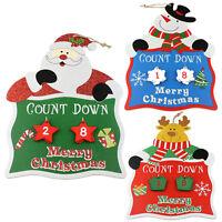 Wooden Advent Days Til Christmas Countdown Hanging Plaque Santa Snowman Reindeer