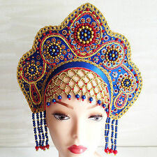 Russian woman national headdress beads embroidery Ethnic Clothing Russia  80j