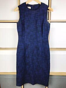 Hobbs Blue & Black Cotton Tweed Shift Dress Size 10 VGC