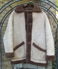 Mens AUS-FURS Brown Reversible Shearling Sheepskin Fur Leather Coat Jacket SZ 44