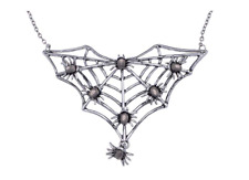 Sexy New Gunmetal Tone Halloween Creepy Spider Web Bug Cutout Pendant Necklace