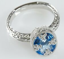 Designer Diamond Blue Topaz 18K White Gold Right Hand Ring Size 7 Wholesale